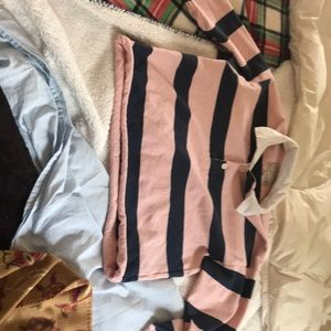 Vintage Abercrombie pink and blue polo